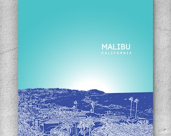 Malibu California Cityscape Skyline / Honeymoon destination / Office Art Poster Décor - Any city available