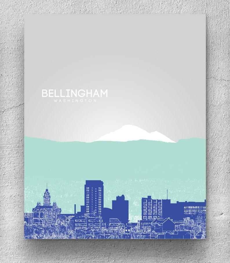 Bellingham Skyline Office Art Poster Home Decor Print