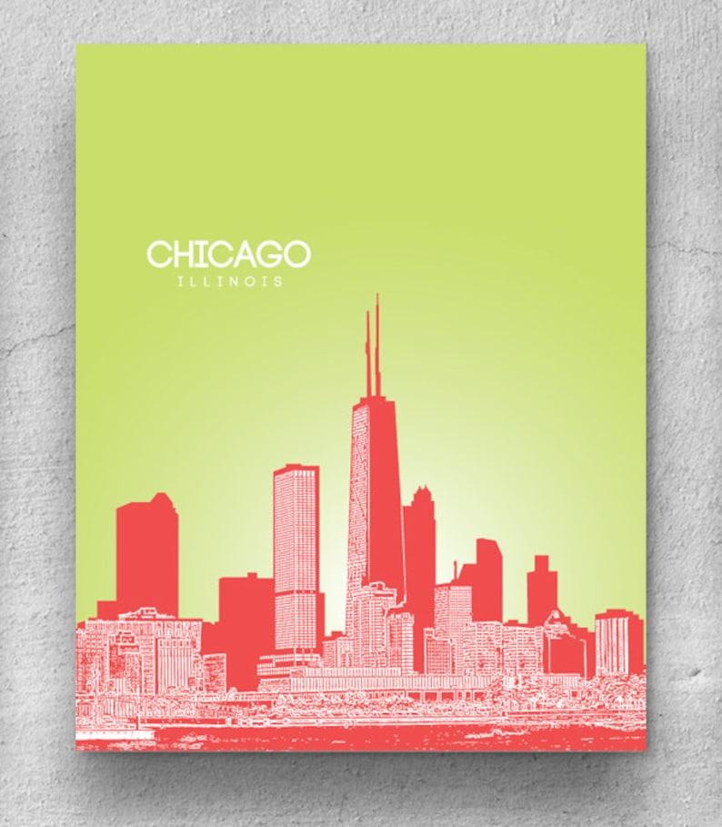 Chicago Illinois Skyline Home Decor Wall Art Poster 8x10