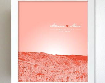 Custom Keepsake / Park City Utah Skyline Anniversary Gift  / Custom Gift / Any Cityscape Available