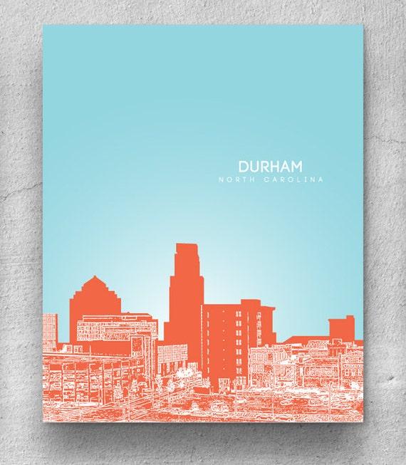 Durham North Carolina City Skyline Nursery Art Home Wall Art Etsy