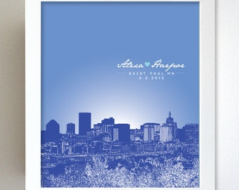 Personalized Anniversary Gift St. Paul Minnesota City Skyline 8x10 Poster Print Art - Any city available