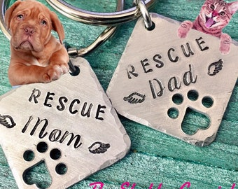 Rescue Mom / Rescue Dad - keychains