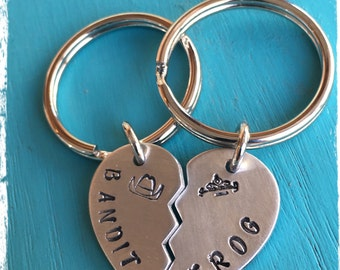 Smokey & The Bandit - Bandit and Frog hand stamped keychains
