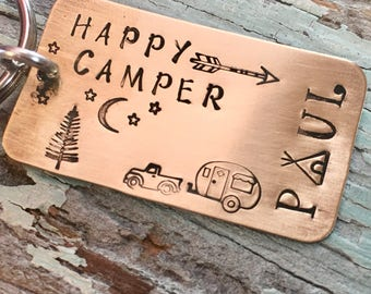 Personalized HAPPY CAMPER - keychain