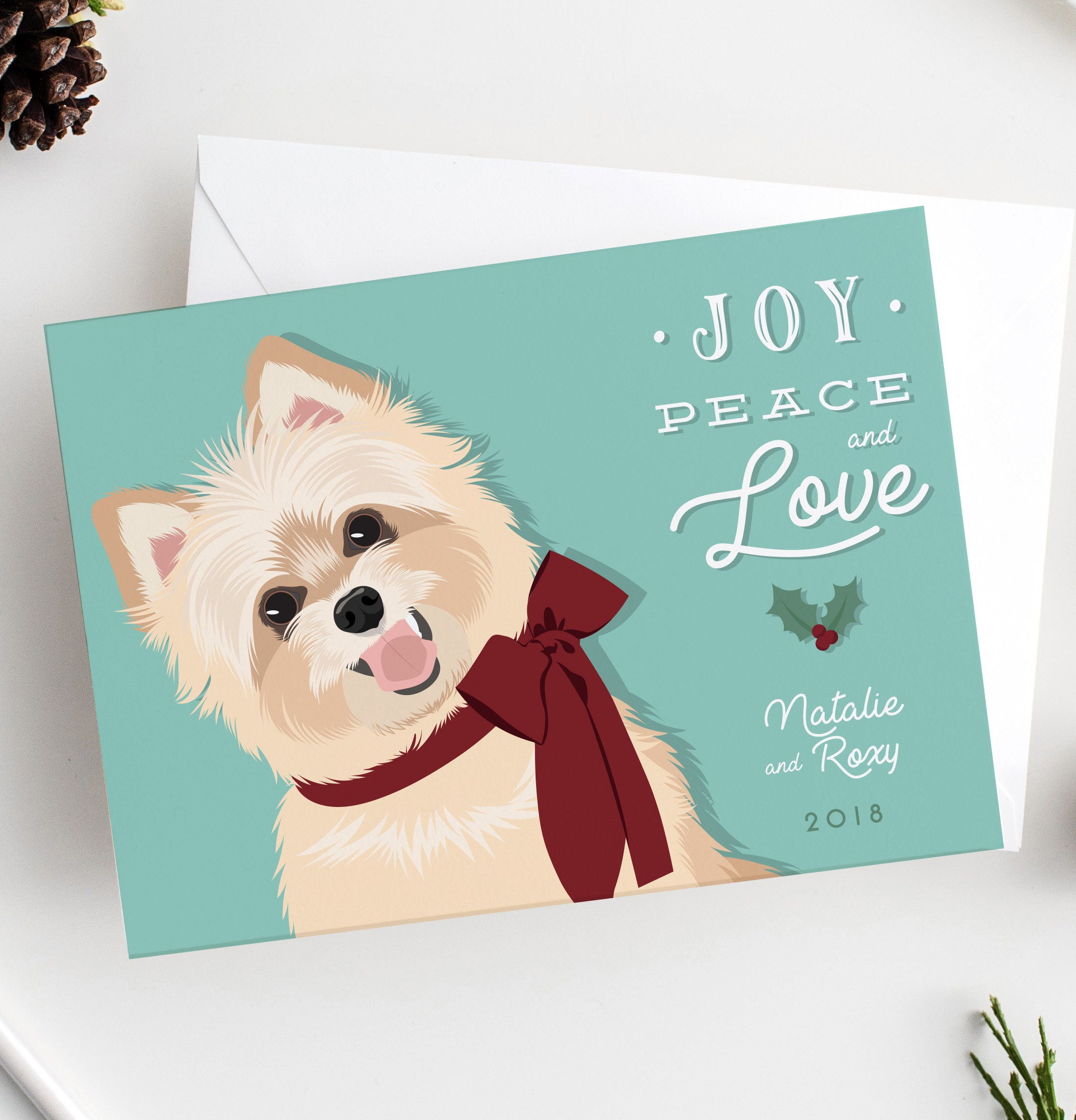 Dog holiday card with custom pet portrait pet holiday card etsy zoom m4hsunfo