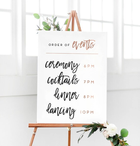 Wedding Rose Gold Order Of Events Sign Wedding Reception Etsy