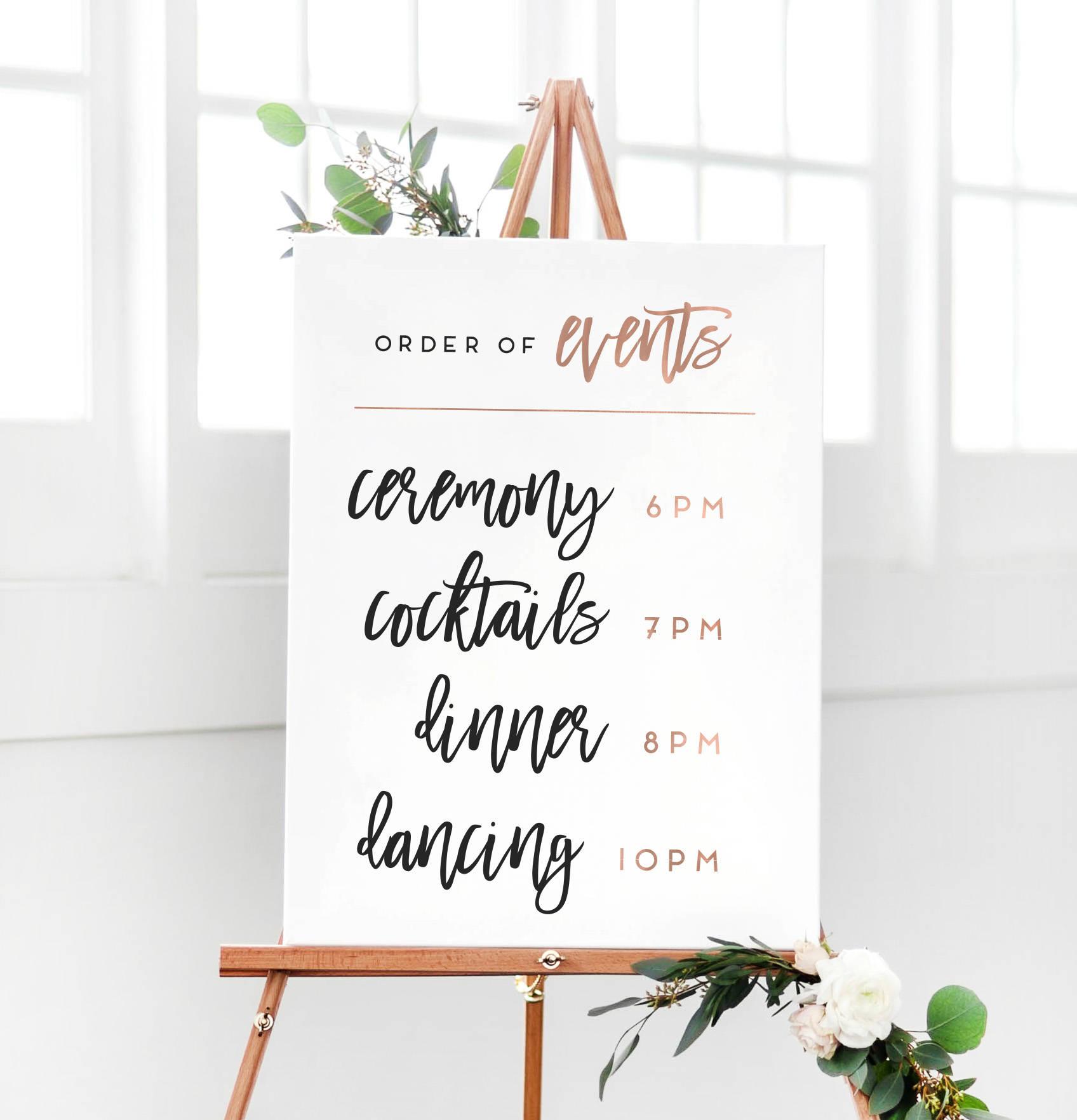 Wedding Rose Gold Order Of Events Sign Wedding Reception Etsy