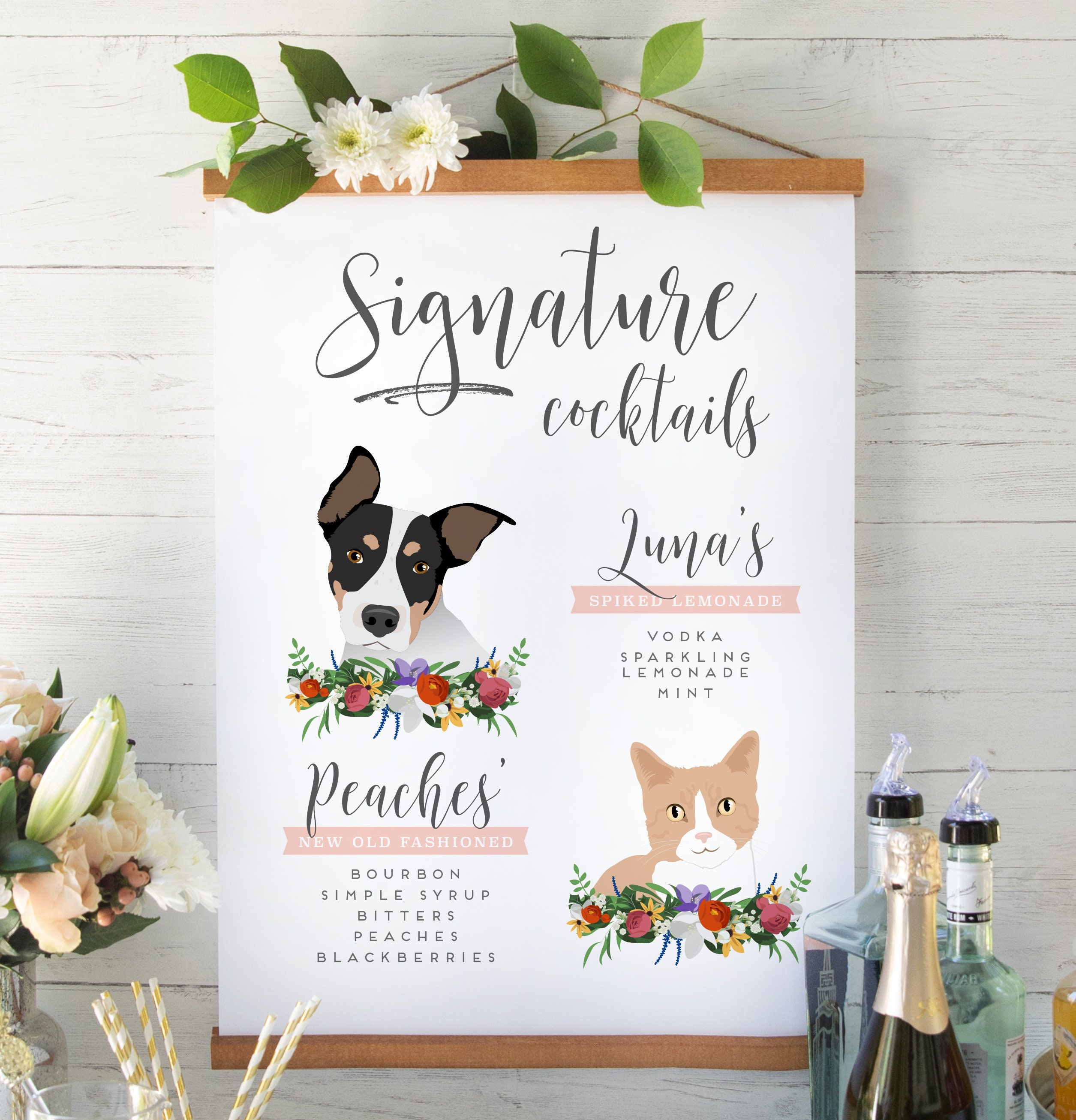 Signature Drinks Sign with Pets for Wedding Bar Cat   Etsy