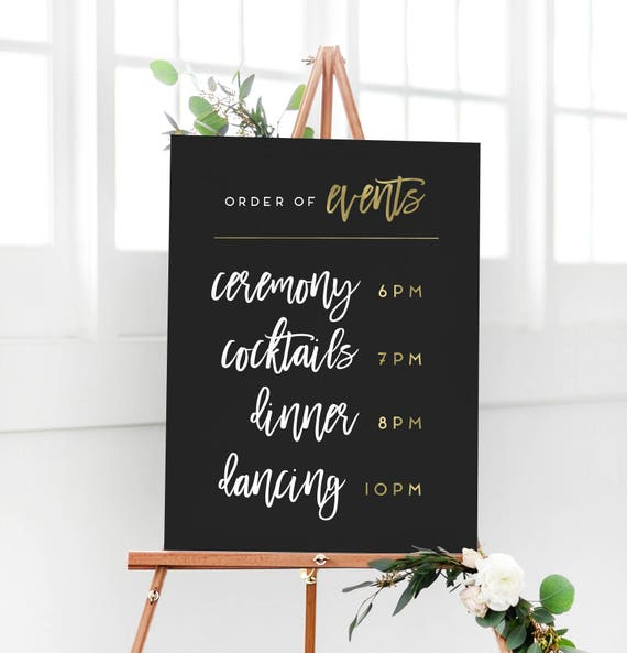 Wedding Black And Gold Order Of Events Sign Wedding Etsy
