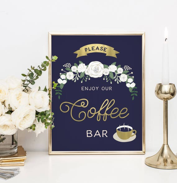 The Navy And Gold Enjoy Our Coffee Bar Sign Wedding Sign Etsy