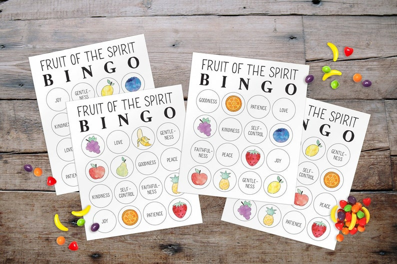 Fruit of the Spirit Bingo, Sunday School Game, Kids Church, Christian  Preschool, Baby Shower + Party Game, PDF Printable, INSTANT DOWNLOAD