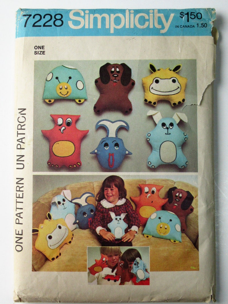70's Stuffed Toys Simplicity 7228 Sewing Pattern Pillows image 0