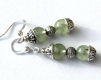 """Earrings Silver earrings with Prehnite beads in shades of pale green: """"Verdissantes"""""""