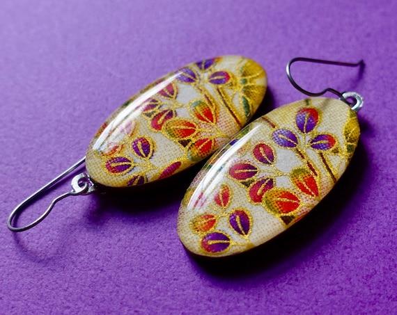 Rainbow earrings, floral earrings, flower earrings, yellow earrings, boho earrings, chiyogami earrings, Japanese paper earrings, colorful