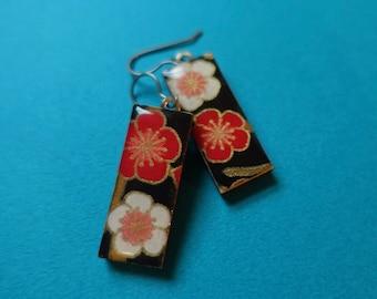 Flower Earrings, Plum Blossom Earrings, Paper earrings, Japanese paper earrings, chiyogami earrings, lightweight earrings, hypoallergenic