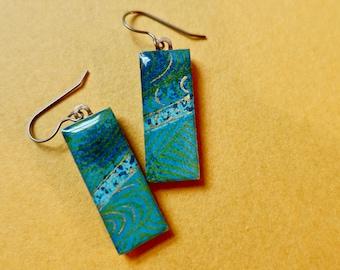 Blue earrings, turquoise earrings, gold earrings, lightweight earrings, titanium, hypoallergenic, river earrings, ocean earrings, water