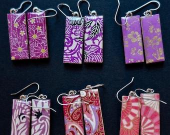 Yuzen Earrings Washi Earrings Chiyogami Earrings Japanese Paper Earrings Medium Pink and Black Earrings Pink Earrings