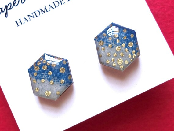 Hexagon studs, hexagon earrings, Japanese paper earrings, chiyogami earrings, chiyogami stud earrings, chiyogami studs, Blue earrings, Gold