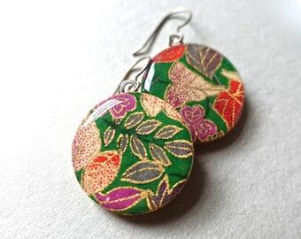 Flower Earrings, Japanese Earrings, Lightweight Earrings, Hypoallergenic Earrings, Allergy Free Earrings, Leaf Earrings, Green Earrings