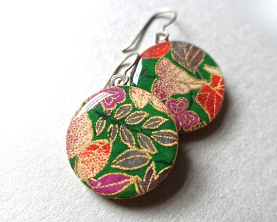 Flower Earrings, Japanese Earrings, Lightweight Earrings, Hypoallergenic Earrings, Allergy Free Earrings, Leaf Earrings, Green Earrings