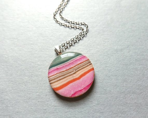 Pink Necklace, Paper Necklace, Lightweight Necklace, Sterling Silver Necklace, Gifts for Her, Wood Jewelry, Resin Jewelry
