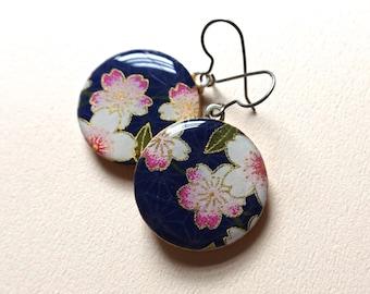 Sakura Earrings, Cherry Blossom Earrings, Sakura Jewelry, Cherry Blossom Jewelry, Japanese Paper Jewelry, Chiyogami Earrings, Lightweight