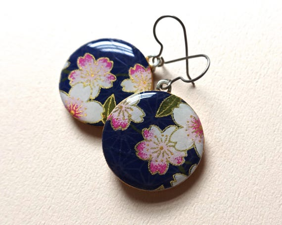 Sakura Earrings, Cherry Blossom Earrings, Sakura Jewelry, Cherry Blossom Jewelry, Japanese Paper Jewelry, Chiyogami Earrings, Lightweight