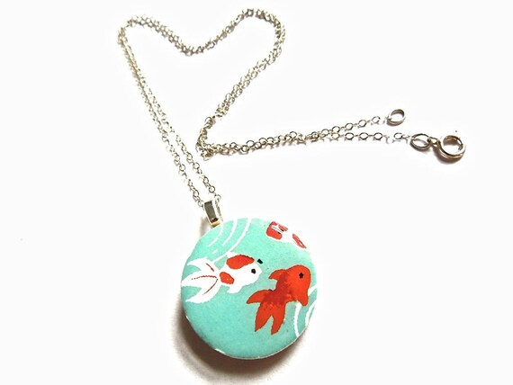 Fish necklace, goldfish necklace, paper jewelry, Japanese necklace, Japanese paper necklace, animal jewelry, animal necklace, paper jewelry