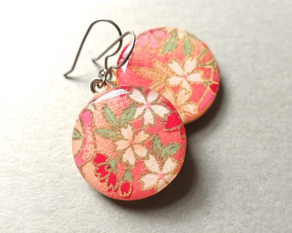 Sakura earrings, Cherry Blossom Earrings, Japanese Paper Jewelry, Chiyogami jewelry, Flower Earrings, Flower Jewelry, Paper Earrings