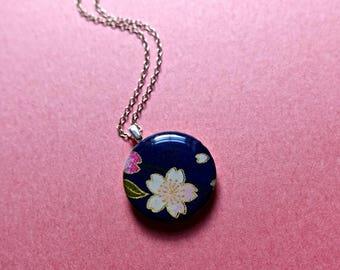 Sakura necklace, Cherry blossom necklace, Japanese paper necklace, Japanese paper jewelry, Sakura jewelry, Cherry blossom jewelry
