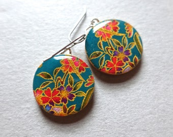 Turquoise earrings, flower earrings, floral earrings, boho earrings, boho jewelry, elegant jewelry, paper jewelry, chiyogami, lightweight