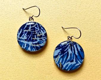 Blue earrings, lightweight earrings, Japanese paper earrings, resin earrings, wood earrings, gold earrings, hypoallergenic earrings
