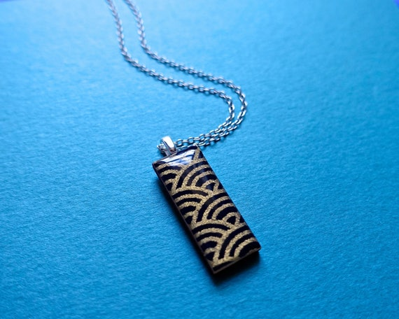 Japanese necklace, paper necklace, chiyogami necklace, gold necklace, black necklace, sterling silver necklace, chiyogami necklace, yuzen