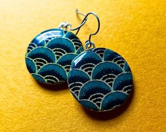Green earrings, Japanese paper earrings, chiyogami earrings, chiyogami jewelry, paper jewelry, lightweight earrings, Hypoallergenic