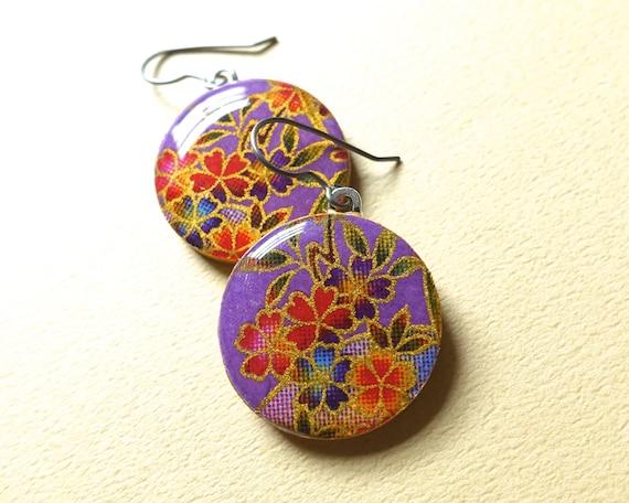 Purple earrings, lavender earrings, flower earrings, sakura earrings, sakura jewelry, cherry blossom earrings, cherry blossom jewelry, yuzen