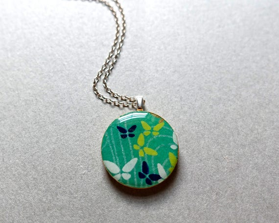 Butterfly necklace, green necklace, japanese paper necklace, chiyogami necklace, paper necklace, paper jewelry, lightweight necklace