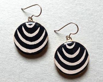 Black Earrings, Black and White Earrings, B&W Earrings, Minimalist Earrings, Minimalist Jewelry, Black and White Jewelry, Lightweight