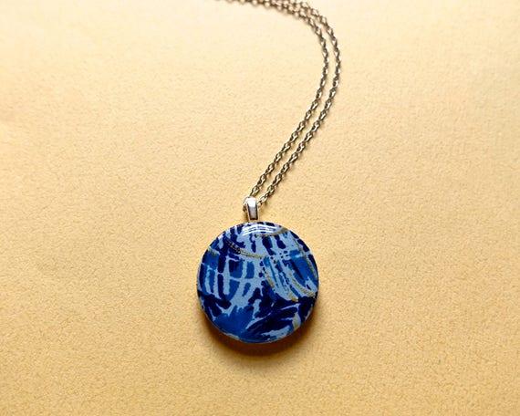 Blue necklace, paper necklace, paper pendant, elegant necklace, elegant jewelry, lightweight jewelry, lightweight necklace, sterling silver