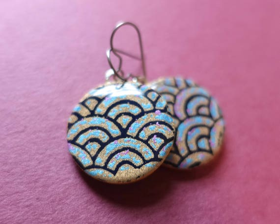 Blue earrings, gold earrings, purple earrings, ocean earrings, ocean jewelry, ocean wave, japanese paper earrings, paper earrings, washi