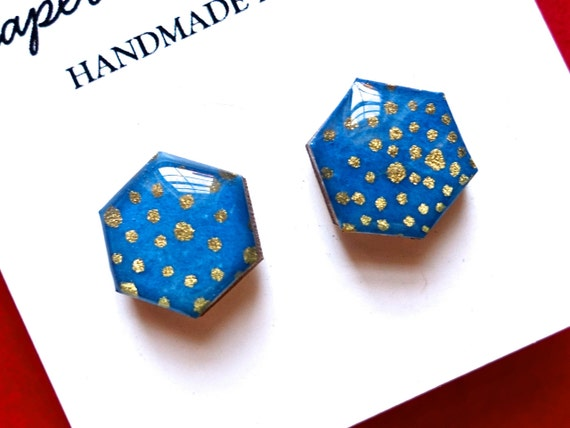 Hexagon earrings, Stud Earrings, Geometric earrings, Hexagon studs, Hexagon stud earrings, blue earrings, gold earrings, Japanese paper
