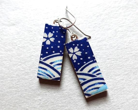 Blue earrings, sakura earrings, cherry blossom earrings, cherry blossom jewelry, sakura jewelry, Japanese jewelry, Japanese earrings