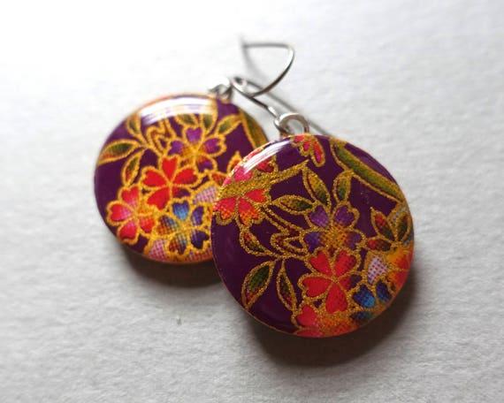 Purple earrings, flower earrings, paper earrings, Japanese paper earrings, paper earrings, sakura earrings, sakura jewelry, cherry blossom