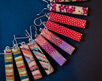 Paper Earrings, Japanese Chiyogami Paper Earrings, Red Earrings, Gold Earrings, Pink Earrings, Purple Earrings, Lightweight Earrings