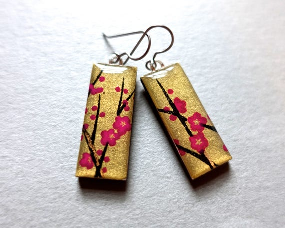 Gold Earrings, Sakura Earrings, Cherry Blossom Earrings, Sakura Jewelry, Cherry Blossom Jewelry, Japanese Paper Jewelry, Chiyogami Earrings