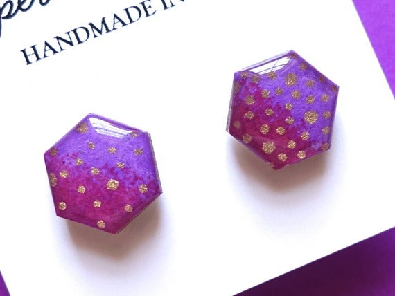 Purple Earrings, Hexagon Earrings, Geometric Earrings, Earring Studs, Japanese Paper Earrings, Chiyogami Jewelry, Hypoallergenic
