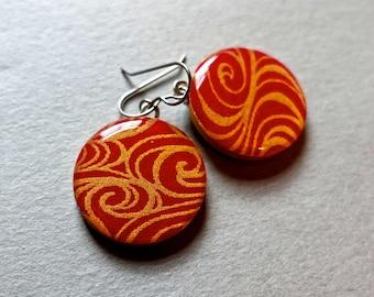 Red earrings, gold earrings, elegant earrings, lightweight earrings, Japanese paper earrings, chiyogami earrings, washi earrings, paper