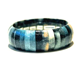 Blue Bracelet, Blue Bangle, Customized Jewelry, Customized Bracelet, Lyrics Jewelry, Quote Jewelry, Name Jewelry, Japanese Paper Jewelry
