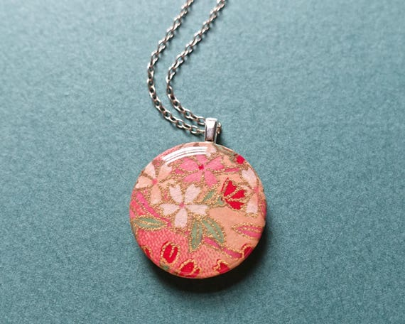 Sakura necklace, cherry blossom necklace, cherry blossom jewelry, pink necklace, pink jewelry, sakura jewelry, Japanese paper jewelry