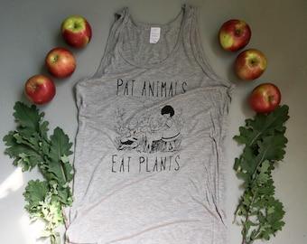 Vegan Eco Tank / Pat Animals Eat Plants / Unisex Men's / Vegan Police Shop